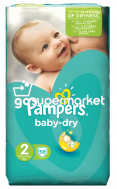 PAMPERS BABY DRY ΠΑΝΕΣ Ν2 3-6KGR 58ΤΕΜ