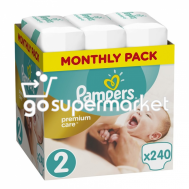 PAMPERS PREMIUM CARE ΠΑΝΕΣ Ν2 3-6KGR 240ΤΕΜ (MONTHLY PACK)